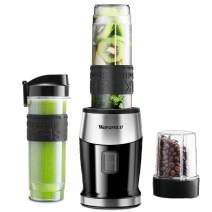 Smoothie Blender 300W Personal Blender with 20 oz Portable Sports Bottle, 2-in-1 System Portable Blender with 4 Sharp Blades for Smoothie and Shakes, Includes Grinder Cup, Travel Lid