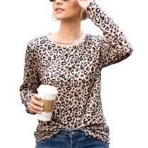 HIMNO Women's Leopard Print Shirts Casual Crew Neck Long Sleeve Basic Soft Tops
