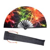Lysa Large Rave Folding Fan for Men/Women-Chinese/Japanese Bamboo and Nylon-Cloth Folding Hand Fan for Electronic Dance Music Festival Party,Dancing,Decorations, Gift (Colourful-07)
