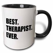 3dRose 185021_4 Best Therapist Ever Fun Gift For Shrinks And Therapy Jobs Black Text Two Tone Mug, 11 oz