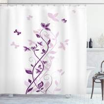 """Ambesonne Purple Shower Curtain, Violet Tree Swirling Persian Lilac Blooms with Butterfly Ornamental Plant Graphic, Cloth Fabric Bathroom Decor Set with Hooks, 70"""" Long, Purple White"""