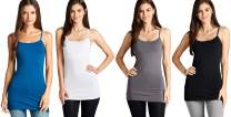 4 Pack: Active Basic Cami Tanks in Many Colors (Large, Royal/White/Black/Charcoal)