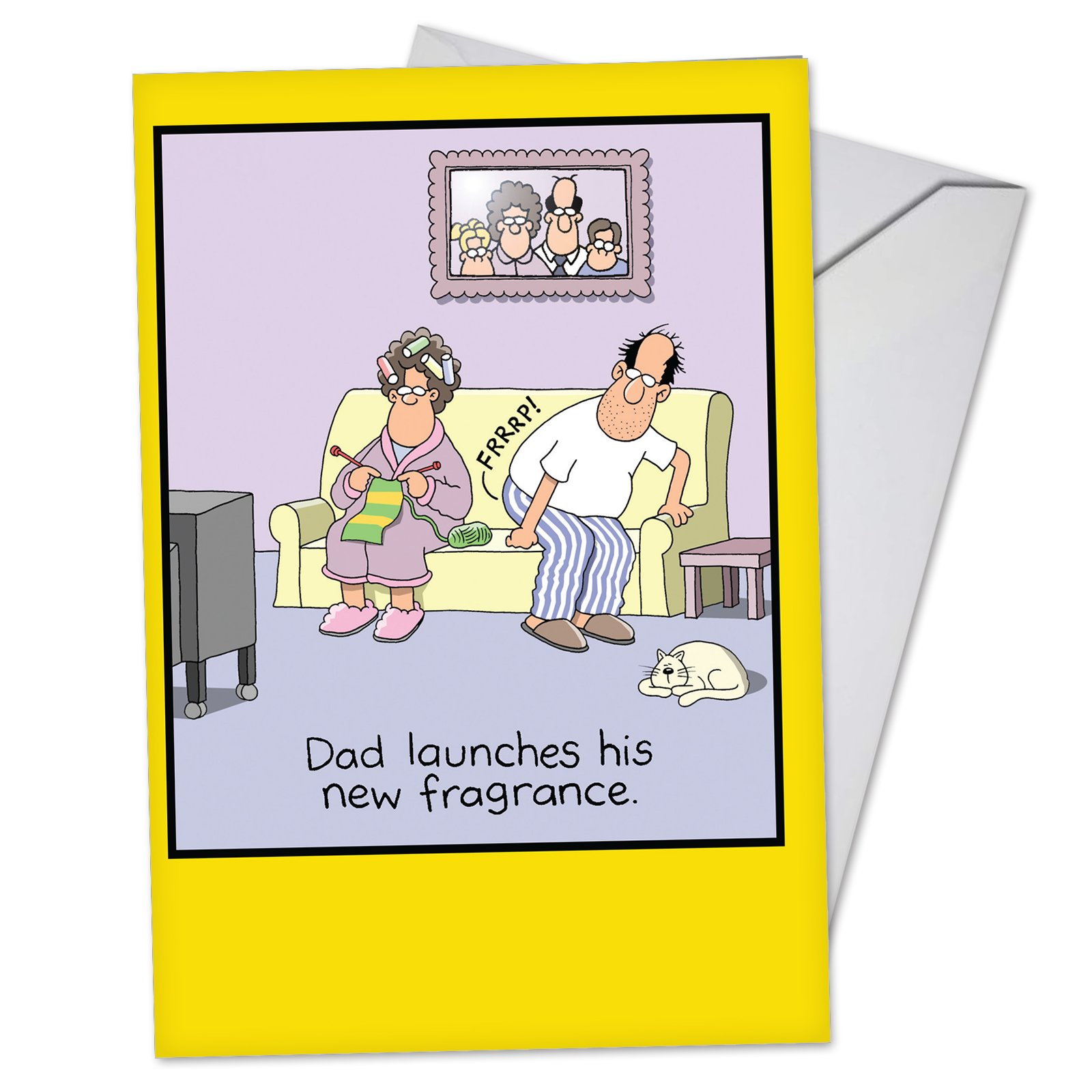 Dad's Fragrance - Funny Father's Day Card with Envelope (4.63 x 6.75 Inch) - Smelly Fart Situation, Fathers Day Greeting Card From Wife - Dad's Day, Stationery Notecard for Dad, Stepdad C3628FDG