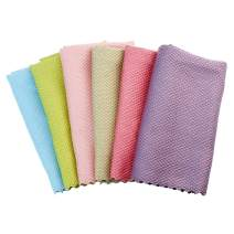 Kingfung 12x16in Microfiber Dishcloth-Reusable Cleaning Cloths-Super Absorbent Dish Cloth Hand Towels(6 Colors,6pack 12x16in)