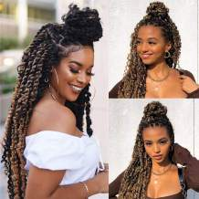 Passion Twist Bohemian Hair for Water Wave Braid Hair 18inch Ombre Long Bohemian Braids for Water Wave Crochet Braids Twist Synthetic Hair Extensions 7Packs Crochet Passion Twist Hair for Black Women