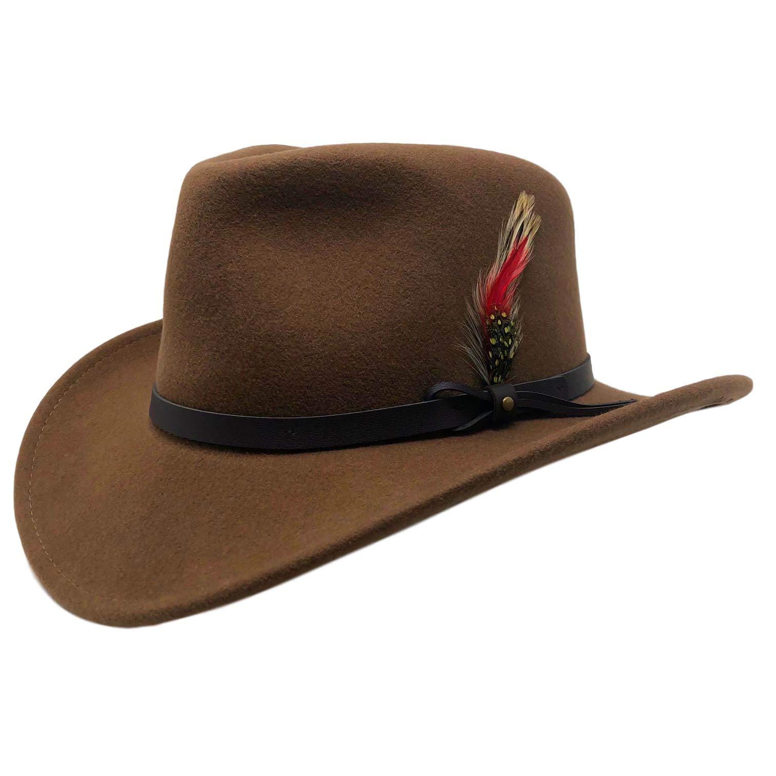 Bellamora One Fresh Hat Wool Felt Crushable Outback Fedora Water Repellent Indy Jones Style Hat