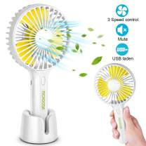 Richoose Handheld Fan Portable, Mini Hand Held Fan with USB Rechargeable Battery, for Women Girls Kids Outdoor and Indoor (White)