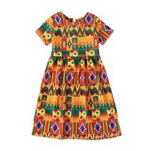 CM C&M WODRO Toddler Kids Girl Clothes Summer African Bohemian Print Short Sleeve Dress Boho Dashiki Style Sundress