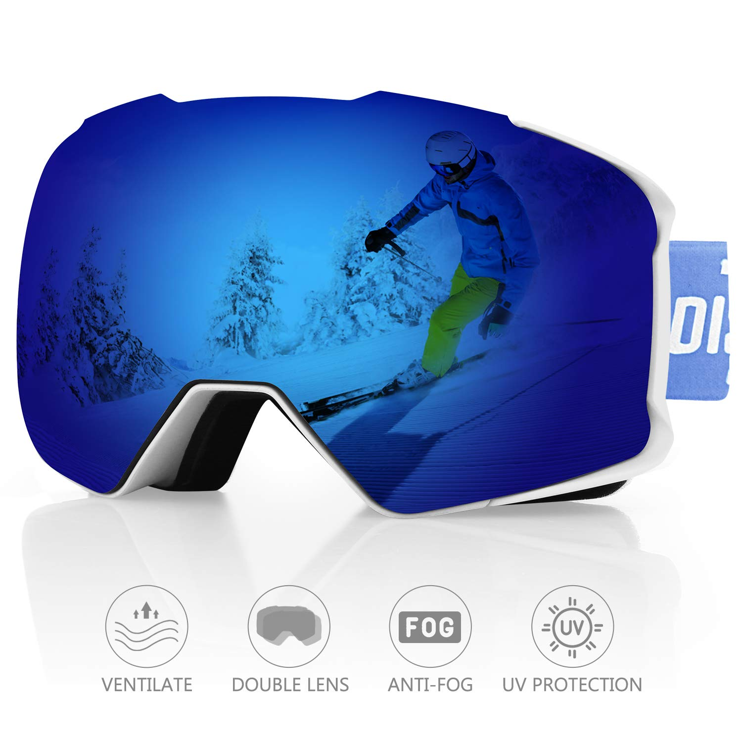 DISUPPO Snowboard Goggles, Ski Goggles with Hyperboloid Anti-Fog Dual Lens,Winter Snow Sports Goggles 100% UV400 Protection, Windproof Impact-Resistant Anti-Glare for Men, Women & Youth