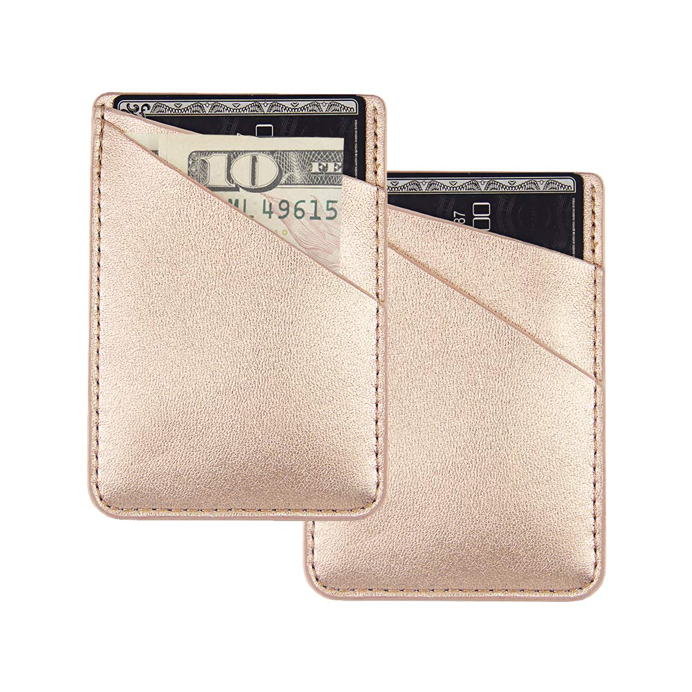 """uCOLOR Two Pack Phone Card Holder PU Leather Rose Gold Wallet Pocket Credit Card ID Case Pouch 3M Adhesive Sticker on Phone Samsung Galaxy Android Smartphones(fit for 4.7"""" Phone or Above)"""