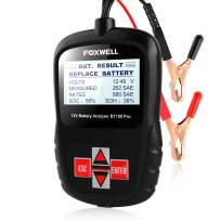 FOXWELL Car Battery Tester Analyzer BT100 Pro 12V Automotive 100-1100CCA Detect Health Faults for Regular Flooded Agm Flat Plate Spiral Gel Batteries