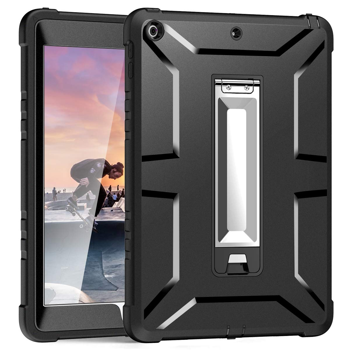 Hocase iPad 6th/5th Generation Case with Screen Protector & Stand, iPad 9.7 2018/2017 Case, Heavy Duty Rugged Shockproof TPU Rubber Bumper Hard Protective Case for iPad A1893/A1954/A1822/A1823 - Black