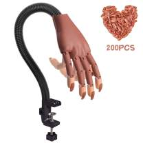 Nail Practice Hand, Acrylic Practice Hand, Manicure Fake Hand Nails Flexible Adjustment with 200pcs Professional Fake Nails Tips