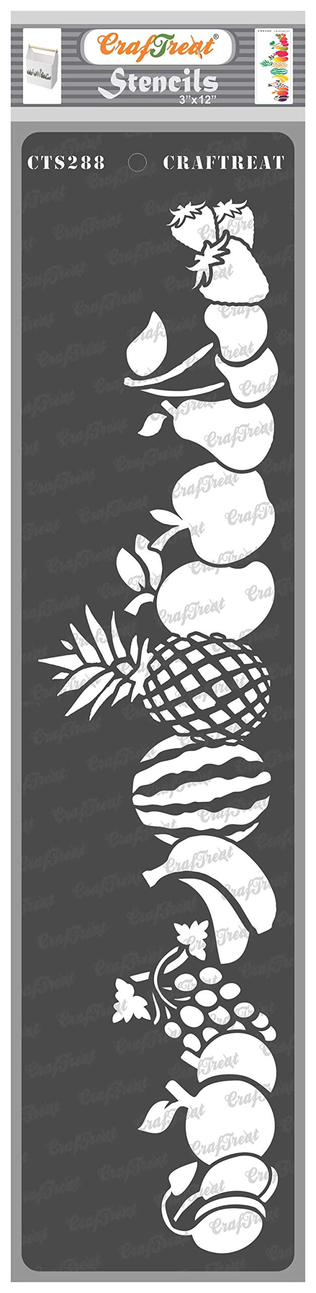 CrafTreat Fruit Border Stencils for Painting on Wood, Canvas, Paper, Fabric, Floor, Wall and Tile - Fruits Border - 3x12 Inches - Reusable DIY Art and Craft Stencils for Borders - Fruit Stencil