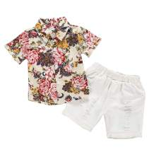 2Pcs Toddle Infant Baby Boy Clothes Floral Print Sweatshirt and Short Pants Summer Beachwear Outfits Set