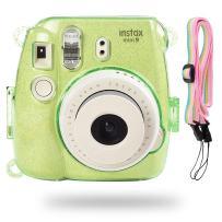 Katia Glitter Case Compatible for Fujifilm Instax Mini 9 / Mini 8 Instant Film Camera with Rainbow Strap (Lime Green)