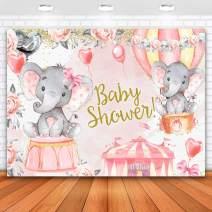 Allenjoy 7x5ft Elephant Baby Shower Backdrop for Girl Pink Balloon Baby Shower Backdrop Elephant Backdrop for Baby Shower Girl Backdrops for Photography