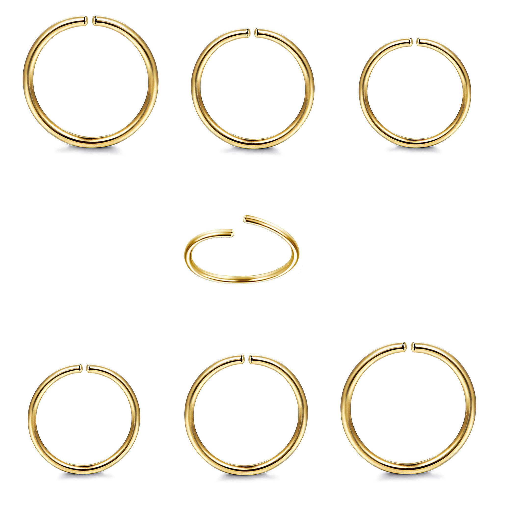 Milacolato 6Pcs 20G Sterling Silver Nose Rings Hoop Helix Cartilage Tragus Earrings Fake Lip Septum Ring for Men Women
