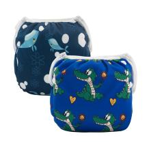 ALVABABY Swim Diapers 2pcs Reuseable Washable for Baby Swimming Lessons (Baby Girls) (Whale & Alligator, Large Size ( 0-3 Years Old))