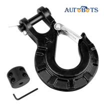 """AUTOBOTS 3/8"""" Winch Cable Hook Set, Heavy Duty Forged Steel Grade 70 Latch Clevis Slip Hook, Included Allen Wrench & Winch Hook Stopper, Max 35,000 lbs,Black"""