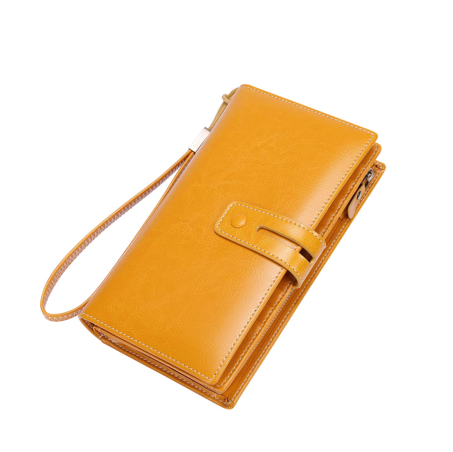 Wallet for Women Large Capacity RFID Blocking Real Leather Purse Clutch Checkbook (Z1 Checkbook Yellow)