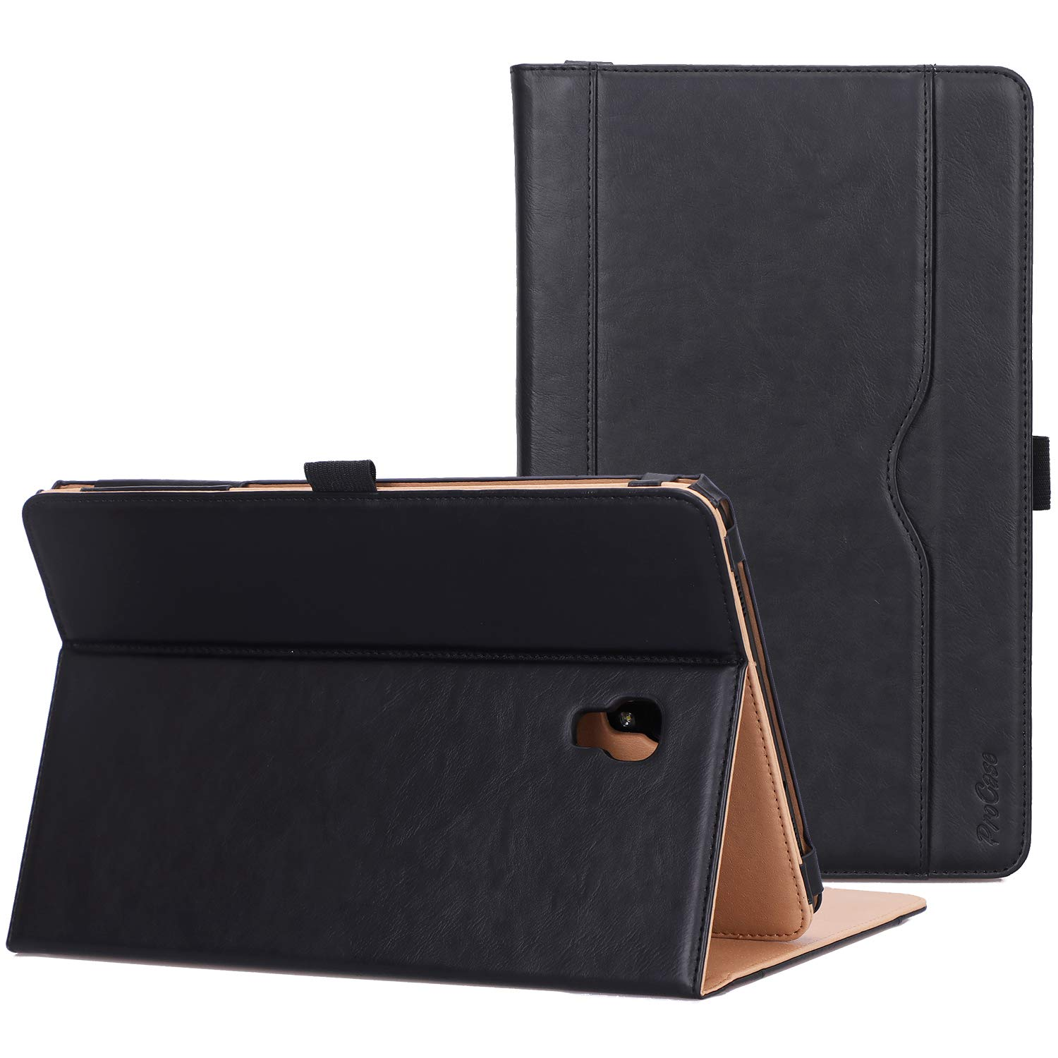 Procase Galaxy Tab A 10.5 Case T590 T595 T597 2018 Release, Premium PU Leather Stand Cover Protective Folio Case for Galaxy Tab A 10.5 Inch Tablet with Multiple Viewing Angles Auto Sleep Wake -Black