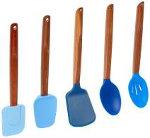 Fox Run 11716 Gradient Blues Silicone Cooking Utensils with Natural Acacia Hard Wood Handle, Set of 5