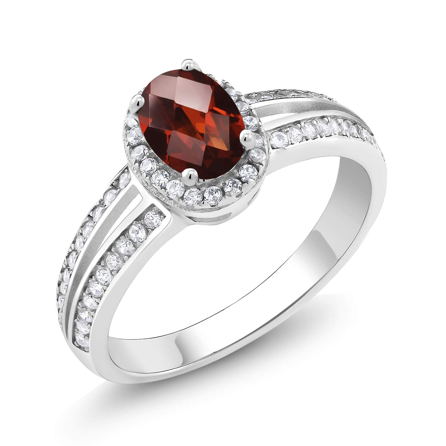 Gem Stone King 925 Sterling Silver Red Garnet Women Engagement Ring (1.60 Ct 7x5mm Oval Checkerboard, Available in size 5, 6, 7, 8, 9)
