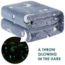 DECOSY Glow in The Dark Throw Blanket, Premium Super Soft Fluffy Plush Luminous Blanket, Fun Gift for Kids Boys Girls, Birthday,Christmas, 50''x60'' Dark Gray