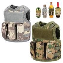Accmor Beer Vest Tactical Holder, 2 Pack Upgraded Mini Beer Jacket Coozy, Adjustable Molle Drink Bottle Coolie Beverage Cooler for 12oz/16oz Cans or Bottles Decoration
