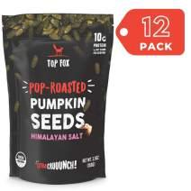Top Fox USA Farm-Grown Organic Pumpkin Seeds. Healthy Pop-Roasted Protein Snacks. Gluten Free, Keto Friendly, Vegan, Paleo. 3.5 ounce (Himalayan Salt, 12 pack)