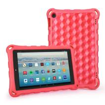 Kid-Proof Case for Fire 10.1 inch Tablet - Auorld Anti Slip Shockproof Light Weight Kids Friendly Protective Case for Amazon Fire HD 10 (Compatible with 2019&2017&2015 Release)-Red