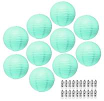 Aqua Paper Lanterns Decorative Party Lanterns - Hanging Paper Lanterns with Lights - Chinese Lanterns Decorations by Mudra Crafts Round 12 Inches Pack of 10
