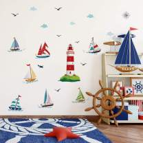 decalmile Lighthouse Sailboat Wall Decals Nautical Seagull Wall Stickers Baby Nursery Kids Bedroom Living Room Wall Decor