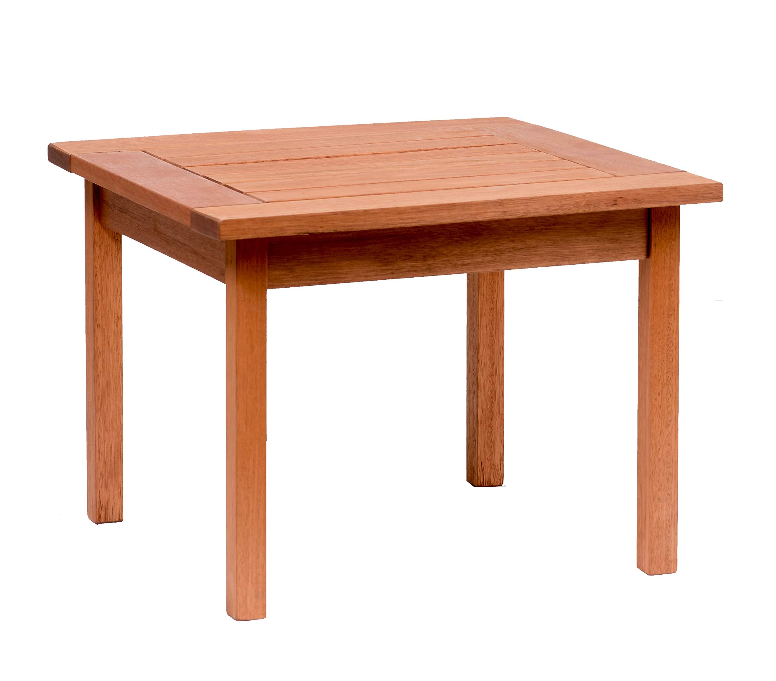 Amazonia Milano 1-Piece Outdoor Square Side Table | Eucalyptus Wood | Ideal for Patio and Indoors, 23.5 x 23.5