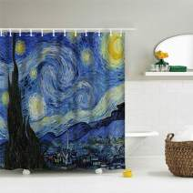 IcosaMro Starry Night Shower Curtain for Bathroom with Hooks, Van Gogh Stars Art Decorative Long Cloth Fabric Shower Curtain Bath Decorations - 71Wx72L, Blue