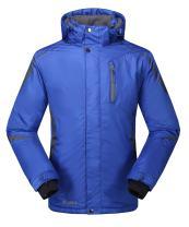 Krumba Men's Sportswear Outdoor Waterproof Windproof Hooded Black Ski Jacket