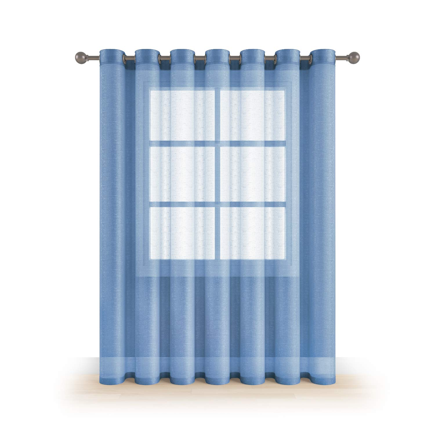 """MEMIAS Extra Wide 1 Window Sheer Elegant Voile Curtain with Grommets for All Rooms Decoration, 104"""" W x 84"""" L, Baby Blue"""