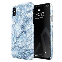 BURGA Phone Case Compatible with iPhone X iPhone Xs - Arctic Winter Blue Topaz Snow Frost Ice Marble Cute Case for Girls Thin Design Durable Hard Shell Plastic Protective Case