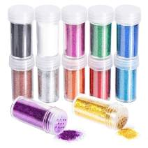 12 Pieces Fine Glitter, FANDAMEI 12 Colors 10g Glitter Shake Jar Set, Extra Fine Glitter Powder for Arts, Crafts, Slime Making, Painting, Decoration, Body Face Makeup, Nail Art, Pigment