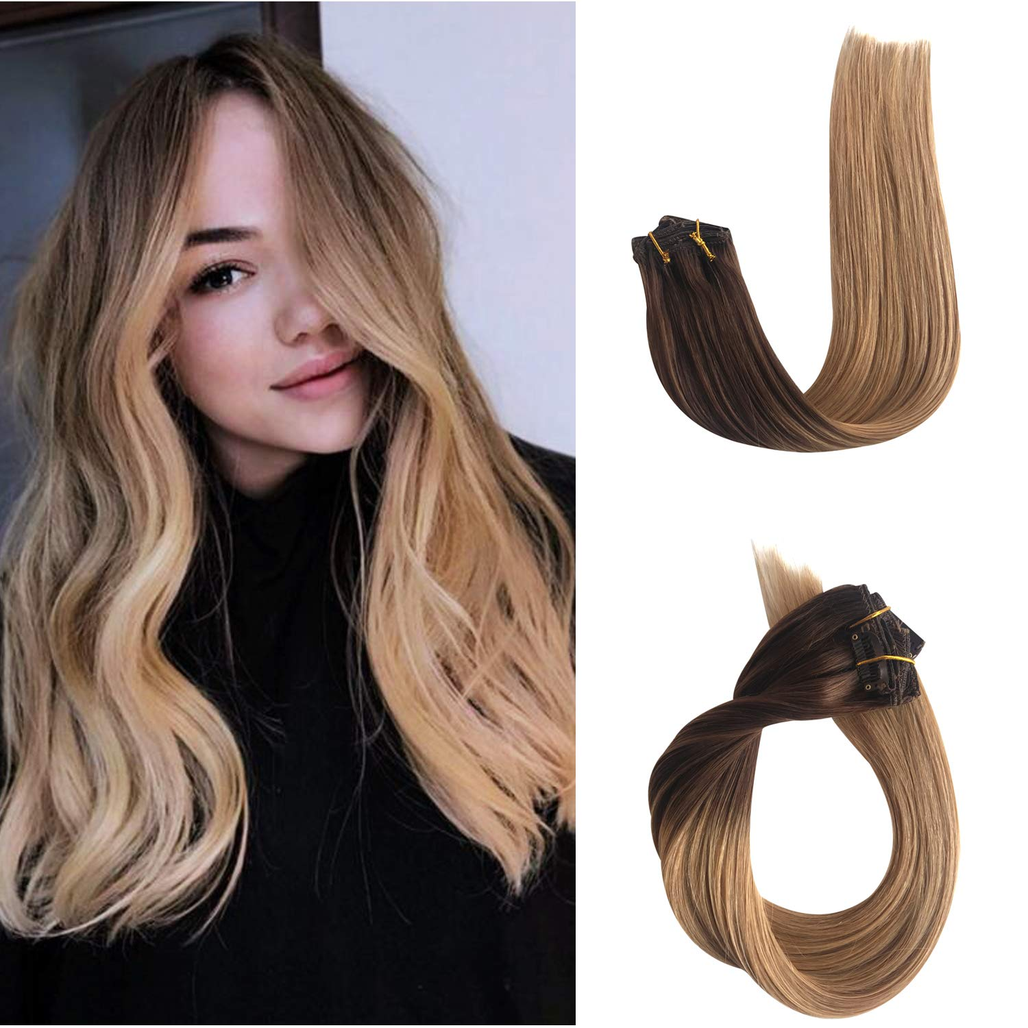 Ombre Clip in Human Hair Extensions Real Remy Hair Extensions Clip on for Black/White Women Medium Brown to Strawberry Blonde Double Weft Soft Silky Straight Glueless Natural 70g 7pcs 16 Clips 15in