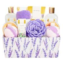 Spa Luxetique Spa Gift Basket, Lavender Gift Baskets for Women, Mother's Day Gift Set, Luxury 12 Pcs Home Bath Set with Soap, Massage oil, Bath Salts, Bath Bombs, Body Scrub, Best Gift Set for Women.