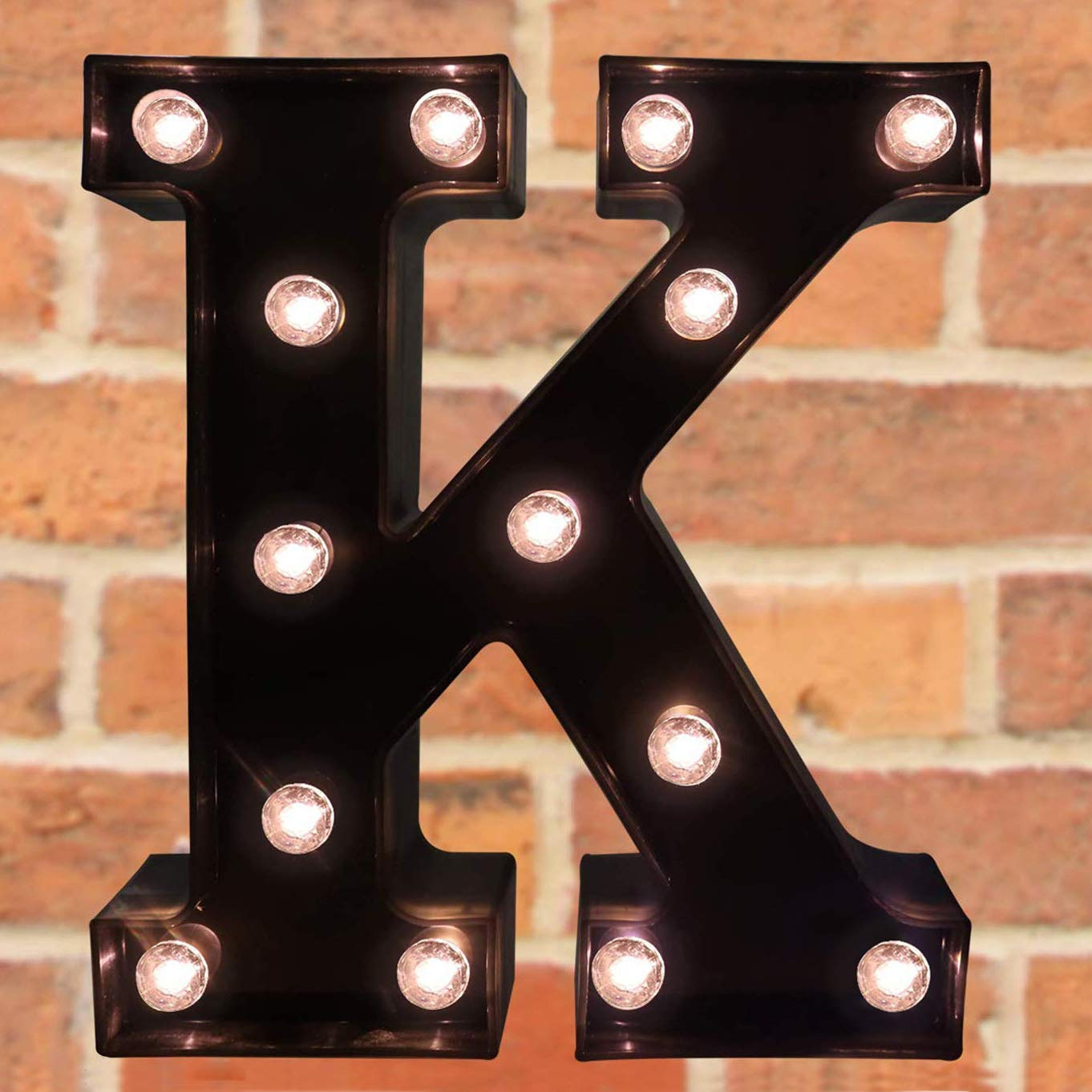 Pooqla Decorative LED Illuminated Letter Marquee Sign - Alphabet Marquee Letters with Lights for Wedding Birthday Party Christmas Night Light Lamp Home Bar Decoration K, Black