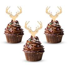 Wooden Deer Cupcake Toppers Antler Cake Picks Wedding Baby Shower Birthday Hunting Rustic Country Party Cake Decoration Supplies 24 Counts