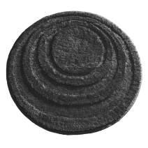 "mDesign Soft Microfiber Polyester Non-Slip Round Spa Mat, Plush Water Absorbent Accent Rug for Bathroom Vanity, Bathtub/Shower - Concentric Circle Design, Machine Washable - 24"" Diameter - Black"