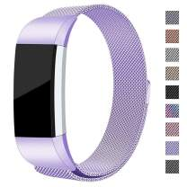 hooroor for Fitbit Charge 2 Bands for Women Men, Milanese Loop Stainless Steel Metal Sport Replacement Bracelet Wristbands Strap with Magnet Lock for Fit bit Charge2 Fitness Tracker (Lavender, Small)