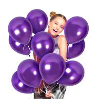 Metallic Dark Purple Balloons Pack of 72 Pearlized Violet Chrome Latex 12 Inch for Engagement Wedding Bridal Shower Bachelorette Birthday Graduation Party Supplies