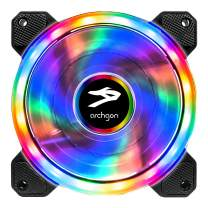 Archgon RGB Radiator Fan CPU Cooler with Bright LED Colors for PC Case, 120 mm Design Fan with Quiet Blades for PC Gaming, PWM Function (Single Pack, RGB Rainbow Mode)