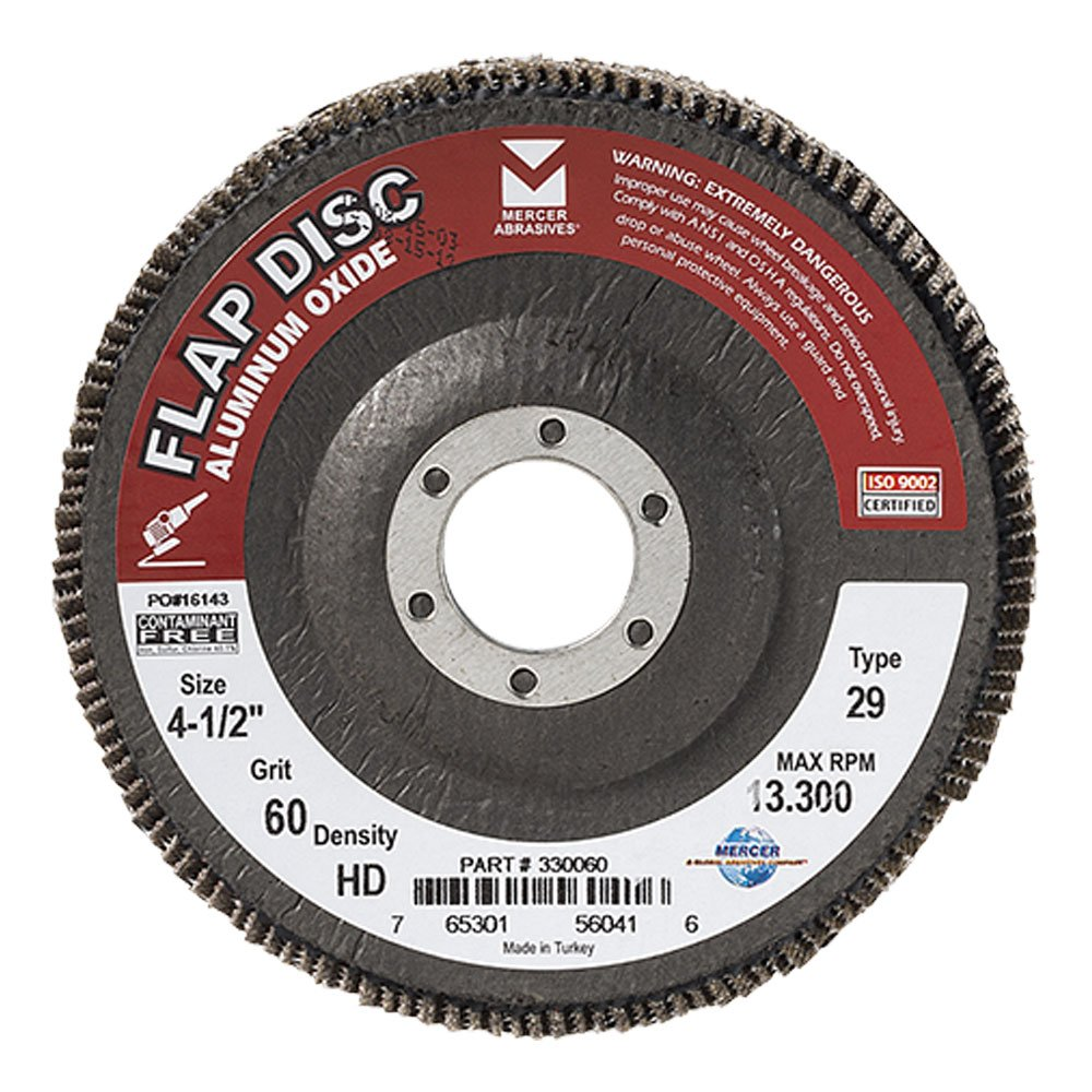 "Mercer Industries 330060 Aluminum Oxide Flap Disc, High Density, Type 29, 4-1/2"" x 7/8"", Grit 60, 10 Pack"