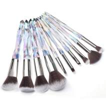 Adpartner 10PCS Makeup Brushes Crystal Handle Makeup Brush Set Premium Rainbow Color, Professional Kabuki Cosmetic Brush for Powder Foundation Concealer Blush Eye Shadow Eyebrow Makeup Kit - B